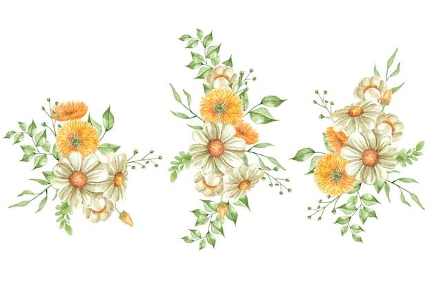 Placez le coin de la peinture de fleurs et de feuilles