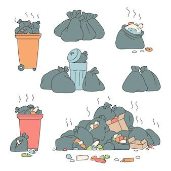 Placez les sacs à ordures et les poubelles.
