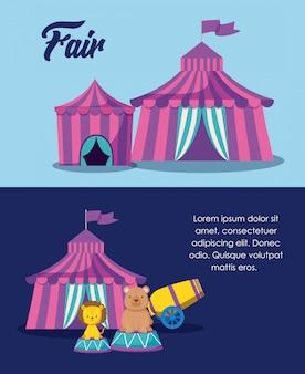 Placez des tentes de cirque avec des animaux mignons