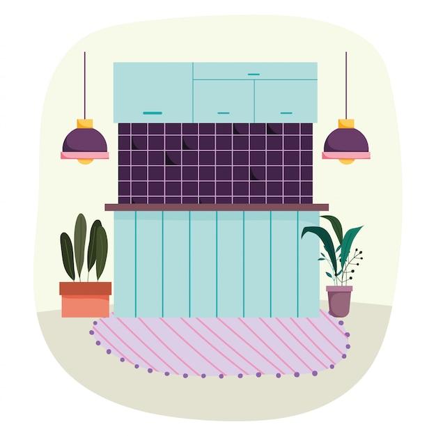Plafonniers intérieurs de cuisine tapis et plantes en pot