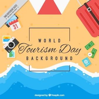 Plage arrière-plan de la journée du tourisme