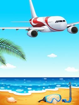 Une plage avec un avion en hauteur