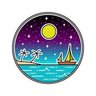 Plage avec badge monoline de bateau