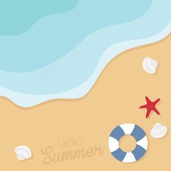 Plage avec coquillages, étoiles de mer et illustration de bouée de sauvetage