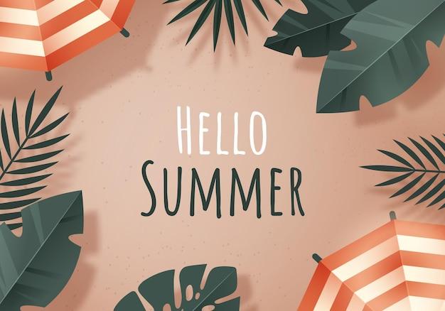 Plage d'été avec des feuilles tropicales et texte bonjour l'été