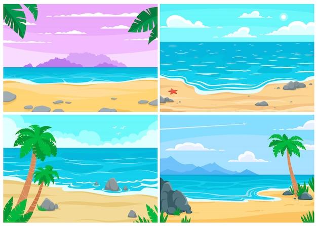 Plage d'été. océan ou bord de mer, paysage de plages et illustration de fond de dessin animé de plage de sable pendant la journée