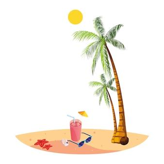 Plage d'été avec palmiers et cocktail