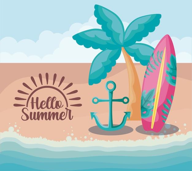 Plage d'été avec planche de surf et set d'icônes