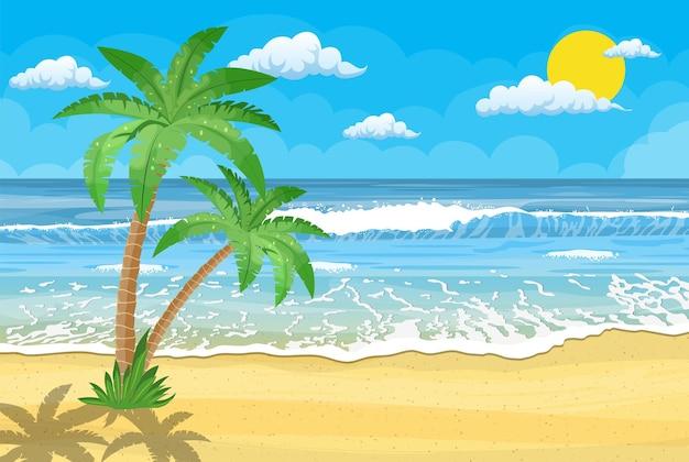 Plage D'été Avec Soleil, Palmiers Et Ciel Sans Nuages Vecteur Premium