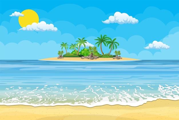 Plage d'été avec soleil, palmiers et ciel sans nuages