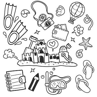 Plage d'été symboles et objets dessinés à la main