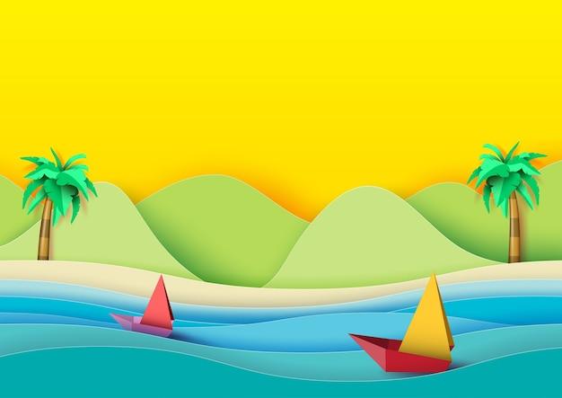 Plage d'été et voiliers style art papier.