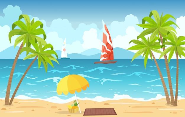 Plage de la mer et chaises longues