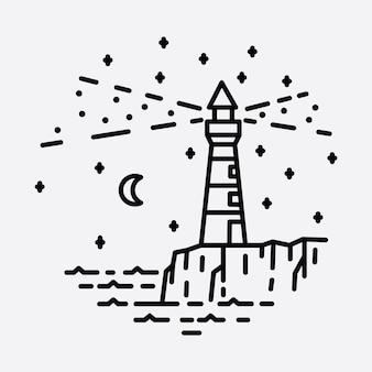 Plage nature phare aventure ligne sauvage insigne patch broche graphique illustration art t-shirt design