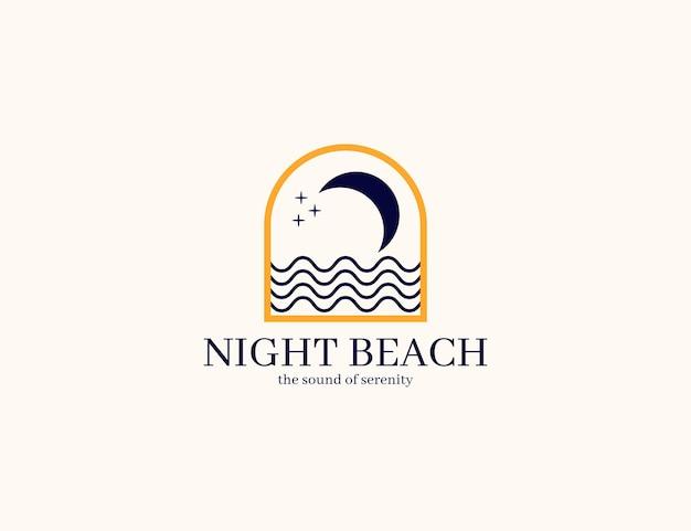 Plage de nuit élégante avec logo lune et vague