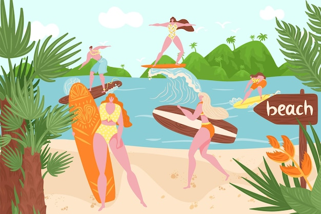 Plage de l'océan, surf d'été dans l'eau, illustration vectorielle. caractère plat de l'homme femme à la planche de surf, activité sportive de vacances à la vague de la mer. surfeur heureux à la nature tropicale, les jeunes se tiennent à terre.