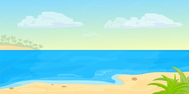 Plage de paysage marin tropical avec du sable de mer en bannière horizontale de style dessin animé