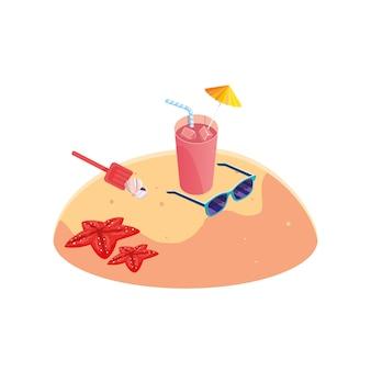 Plage de sable en été avec cocktail