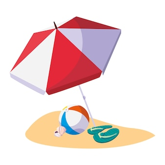 Plage de sable d'été avec parapluie et ballon