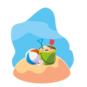 Plage de sable d'été avec seau de sable et icônes