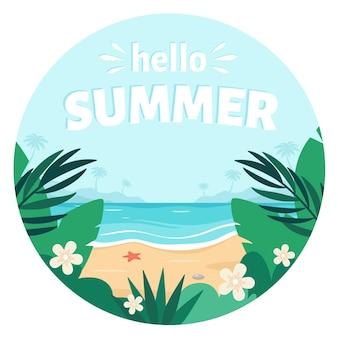 Plage de sable de mer bonjour l'été bord de mer avec palmiers plantes et fleurs tropicales