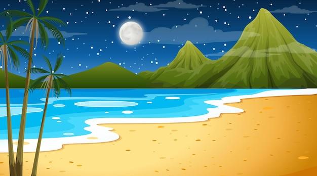 Plage à la scène de paysage de nuit avec palmier