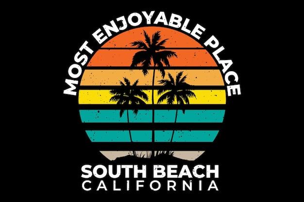 Plage sud californie coucher de soleil rétro style vintage