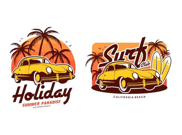 Plage de surf de vacances avec coucher de soleil et illustration de jeu de voiture rétro