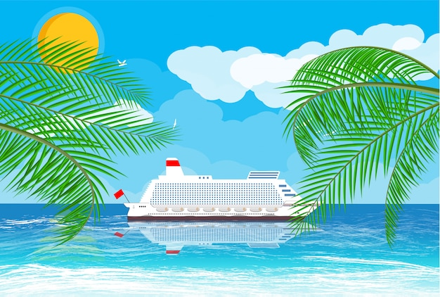 Plage tropicale avec bateau de croisière