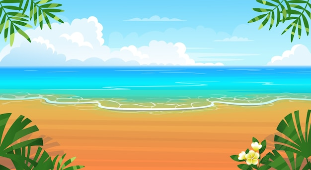 Plage tropicale d'été avec chaises longues, table avec cocktails, parasol, montagnes et îles.