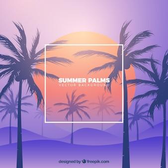 Plage tropicale avec palmiers et fond dégradé