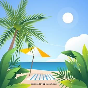 Plage tropicale paradisiaque avec un design plat
