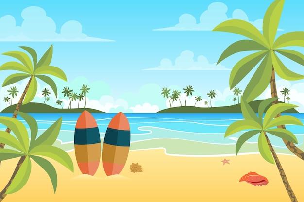 Plage tropicale avec paysage de planches de surf dans un style plat