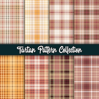 Plaid checkered fabric pattern et collection marron transparente.