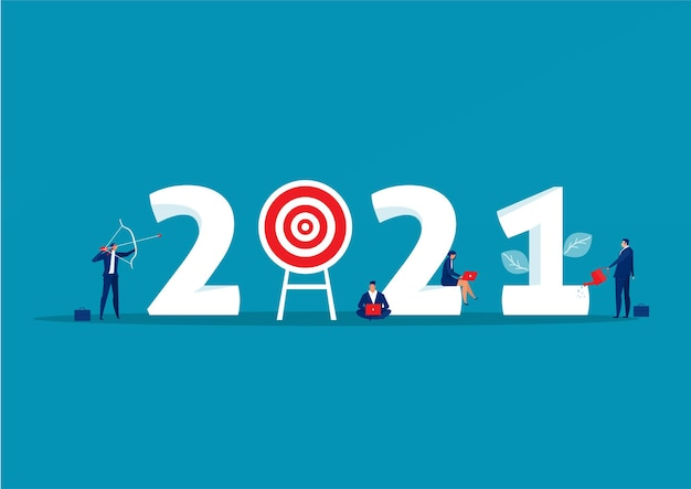 Plan D'affaires 2021 Et Réalisation Des Objectifs Vecteur Premium