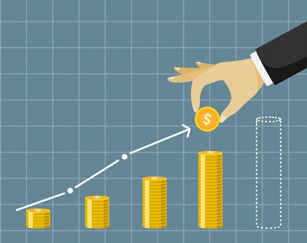 Plan d'affaires financières - main tenant la pièce d'or.