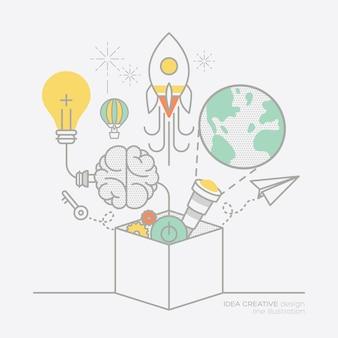 Plan d'affaires idée concept concept contour icônes illustration