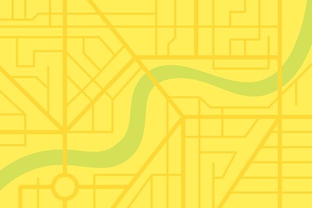 Plan de la carte des rues de la ville avec rivière. schéma d'illustration eps ville couleur jaune vecteur