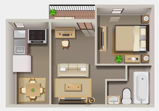 Plan détaillé de l'intérieur de l'appartement vue de dessus
