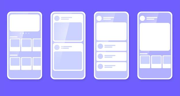 Plan du site de gestion des wireframes mobiles