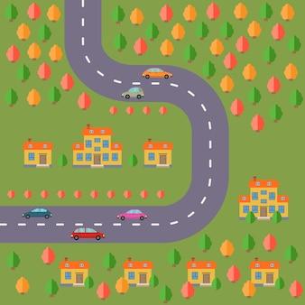 Plan du village. paysage avec la route, la forêt, les voitures et les maisons. illustration vectorielle