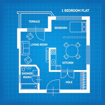 Plan d'étage de l'appartement blueprint vue de dessus