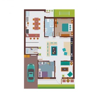 Plan d'étage intérieur de la maison de l'illustration vue de dessus