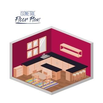 Plan d'étage isométrique de la cuisine