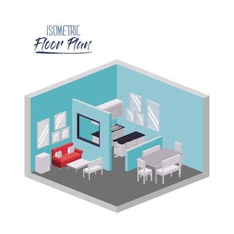Plan d'étage isométrique du salon et de la salle à manger