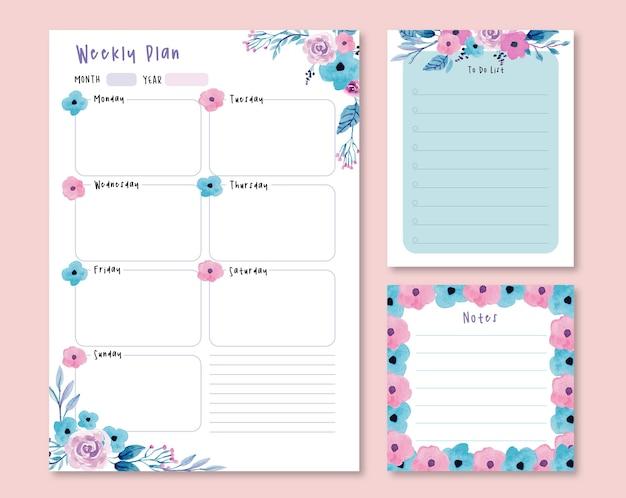 Plan hebdomadaire d'aquarelle florale pourpre et rose et liste de choses à faire
