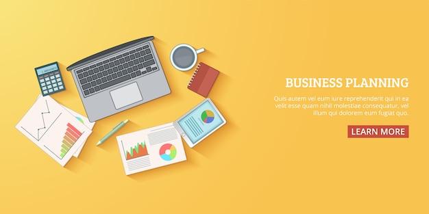 Plan horizontal de la bannière du plan d'affaires, style de dessin animé