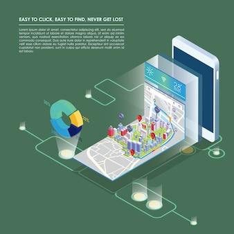 Plan isométrique avec des bâtiments sur téléphone intelligent et carte sur l'application mobile.
