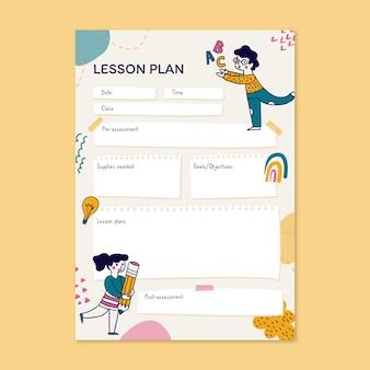 Plan de leçon de l'école d'inclusion des besoins spéciaux dessinés à la main