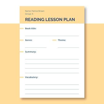Plan de leçon général à lecture simple